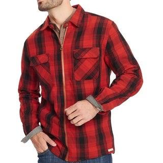 Weatherproof Mens Large Full-Zip Plaid Shirt Jacket