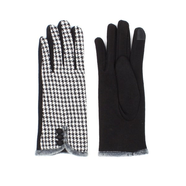 Womens Houndstooth Lined Texting Gloves