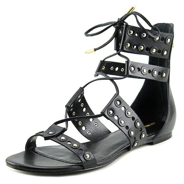 Ivanka Trump Cathy Women Open Toe Leather Black Gladiator Sandal