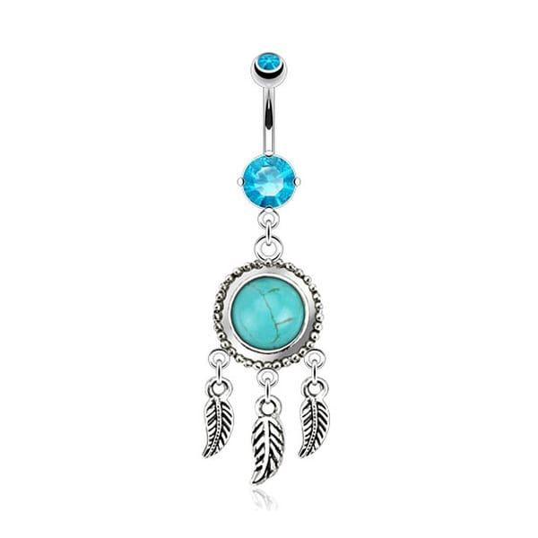 Dream Catcher 316L with Turquoise Semi Precious Stone and Leaves Dangle Navel Belly Button Ring