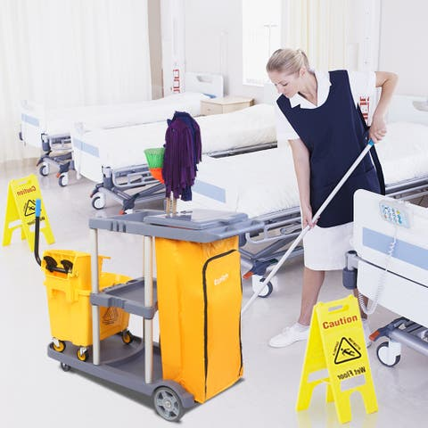 Janitorial Cart with Cover Mute Wheel Canvas Bag with Zipper