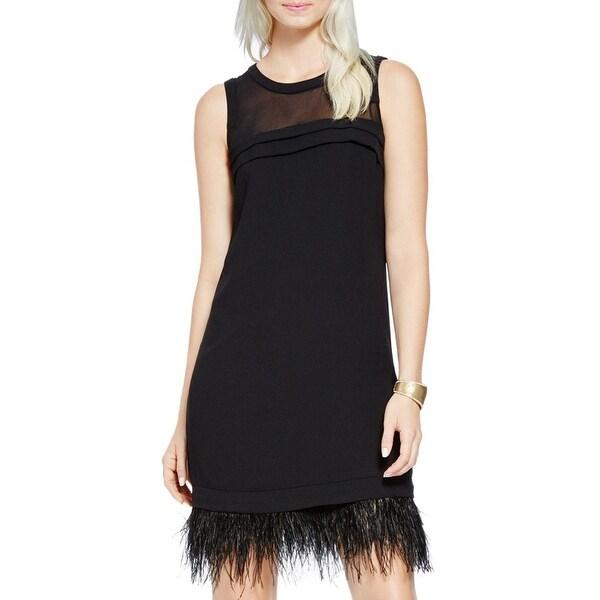 b10e12e94a88a Shop Vince Camuto Womens Cocktail Dress Illusion Faux Feather Trim ...