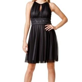 Jessica Howard NEW Black Gray Women's Size 6 Empire Waist Keyhole Dress