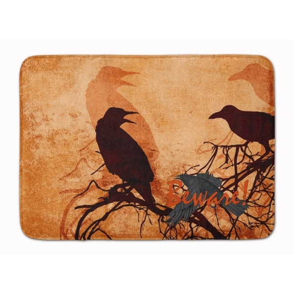 beware of the black crows halloween machine washable memory foam mat