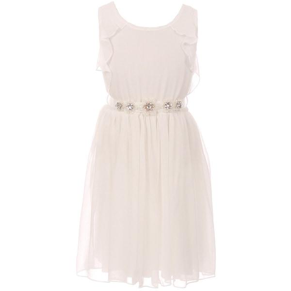 3be3e1e4408 Shop Flower Girl Dress Chiffon   Rhinestone Flower Belt Off White JKS 2089  - Free Shipping On Orders Over  45 - Overstock - 17752325