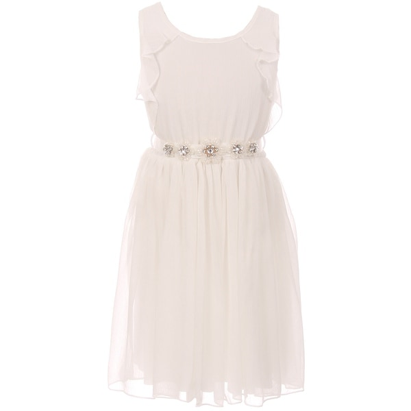 Shop Flower Girl Dress Chiffon & Rhinestone Flower Belt Off White ...