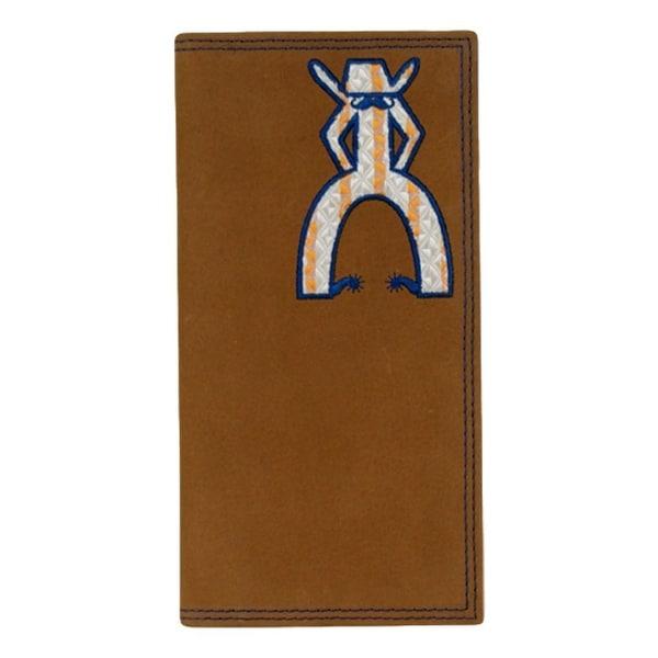 HOOey Western Wallet Mens Punchy Rodeo Checkbook Tan Navy - 3 1/2 x 3/4 x 7
