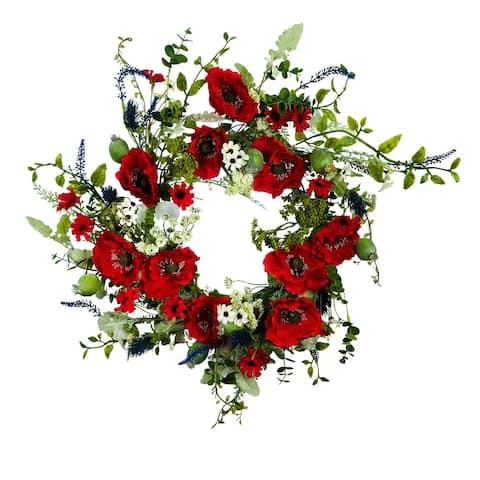 "Poppy Salvia Daisy Artificial Wreath Red White Blue 24"""