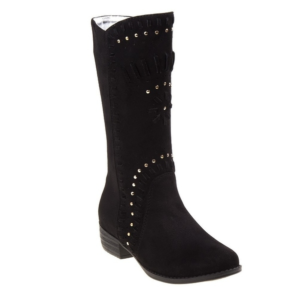 ca8943966 Shop Girls Black Stud Woven Detail Tall Cowgirl Suede Boots - Free ...