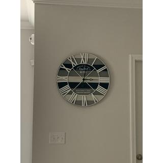 Maritime Farmhouse Planks Wall Clock, Iron, 24 x 2 x 24 in, American Designed