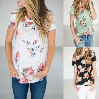Women's Style Flower Print T Shirt Short Sleeve Loose Blouse