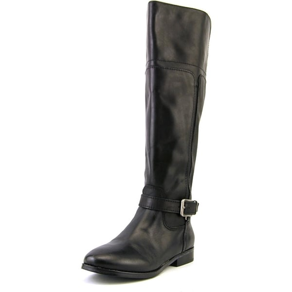 Marc Fisher Aysha Wide Calf Women Round Toe Leather Black Knee High Boot