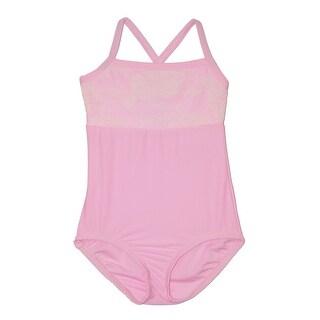 Girls Pink Rose Lace Detail Camisole Dancewear Leotard