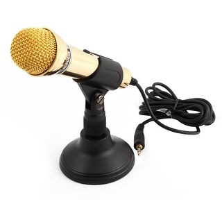PC Mini 3.5mm Plug Studio Multimedia Stand Mount Handheld Microphone Gold Tone
