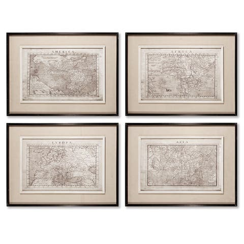 Old Map Prints, Set Of 4