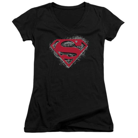 Superman Hardcore Noir Shield Juniors V-Neck Shirt