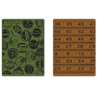 Sizzix Texture Fades A2 Embossing Folders 2/Pkg-Bottle Caps & Rulers By Tim Holtz