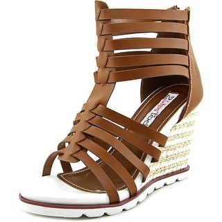 Two Lips Two Humble Women Open Toe Synthetic Brown Wedge Sandal