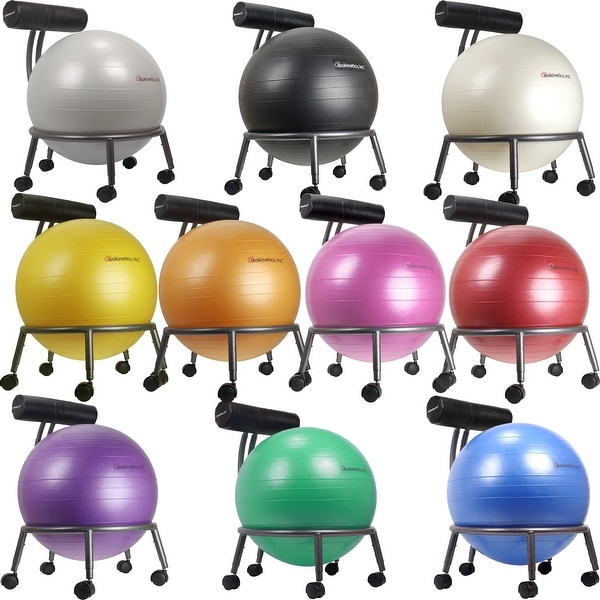Isokinetics Inc. Brand Adjustable Exercise Balance Fitness Ball Chair with 55 cm ball & pump