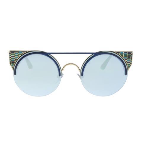 Bulgari BV6088 20206J Blue/ Pale Gold Cat eye Sunglasses - 54-20-150