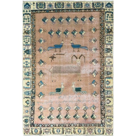 """Shahbanu Rugs Vintage Honey Brown Persian Shiraz With Peacocks And So Much More Worn Down Hand Knotted Wool Rug (5'0"""" x 7'3"""")"""
