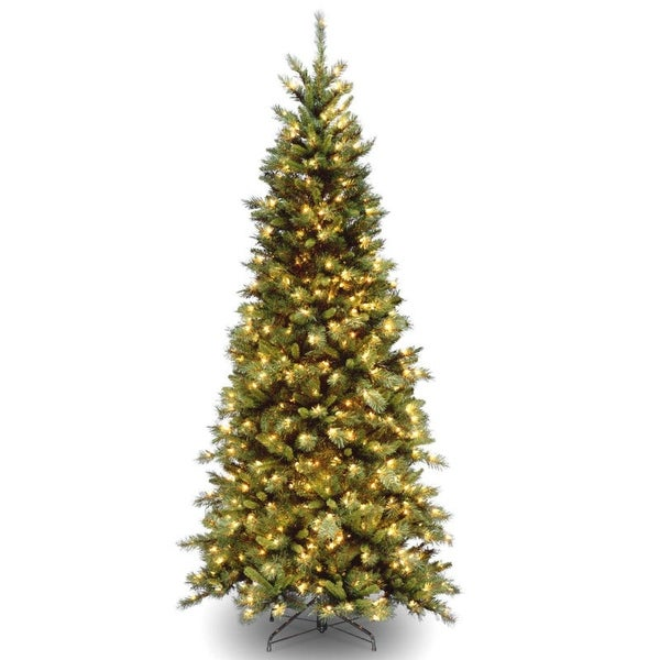 7.5' Pre-Lit Slim Tiffany Fir Artificial Christmas Tree - Clear Lights - green