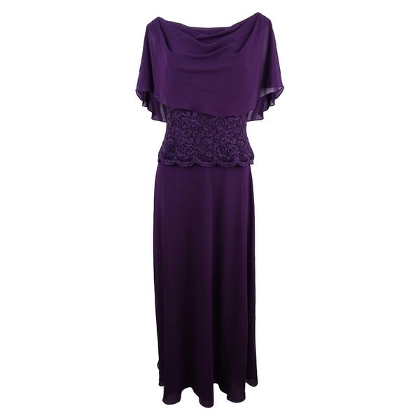 Jessica Howard Women's Cape A-Line Gown - Aubergine