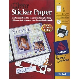 "Ink Jet Sticker Paper W/CD 8.5""X11""-Matte Clear 3/Pkg"