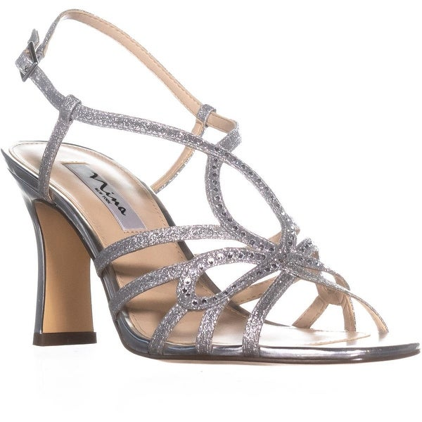 Nina Amabel Slim Heel Strappy Sandals, Silver - 8.5 us