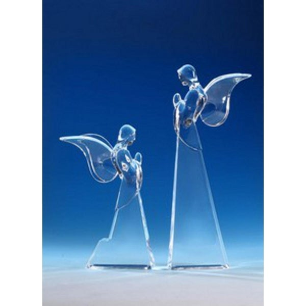 Pack of 2 Icy Crystal Decorative Christmas Butterfly Angel Figurines 12""