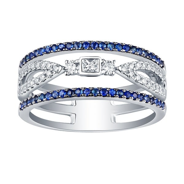 0.58Ct September Birthstone Blue Sapphire & G-H/SI1 Natural Diamond Wedding Ring - White G-H/Blue Sapphire