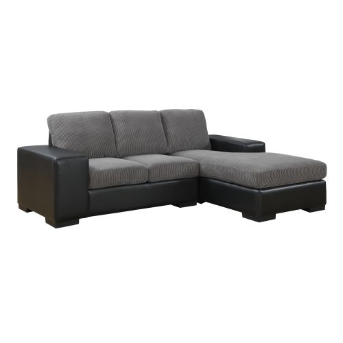 Monarch Specialties Corduroy Sofa With Lounger I And Faux Leather Chaise