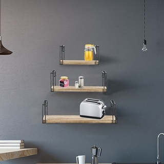 Link to ALEKO Rustic Wood Wall Mount Storage Floating Shelves with Barriers - Set of 3 Similar Items in Accent Pieces