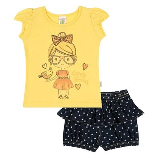Baby Girl Set Graphic Tee Shirt and Shorts Outfit Infant Pulla Bulla 3-12 Months (3 options available)