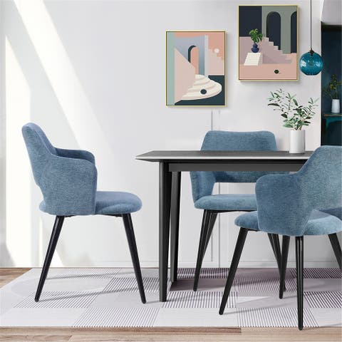 Furniture R Side Dining Chair With Black Legs(Set Of 2)