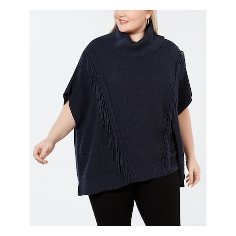 ANNE KLEIN Womens Navy Fringed Turtle Neck PONCHO Top Size 2X