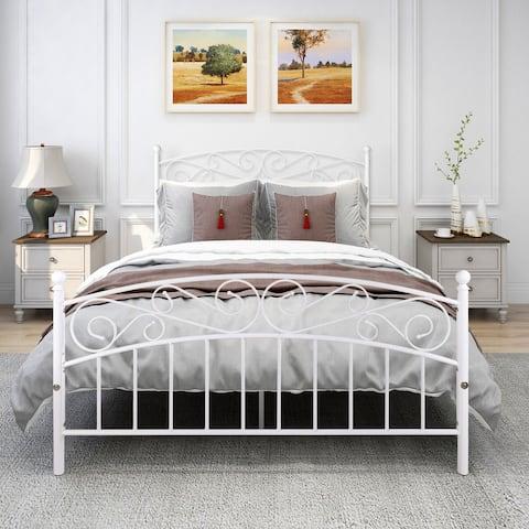 Metal bed frame platform mattress foundation with headboard&footrest