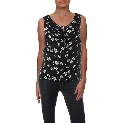 Aqua Womens Tank Top Floral Print V-Neck