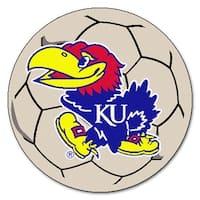 NCAA University of Kansas Jayhawks Soccer Ball Mat Round Area Rug