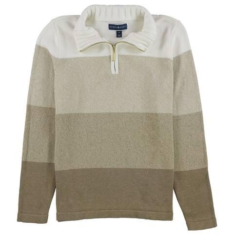 Karen Scott Womens 1/4 Zip Colorblock Pullover Sweater, Beige, Small
