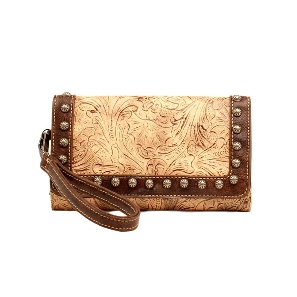 Blazin Roxx Western Wallet Womens Lydia Faux Leather Taupe