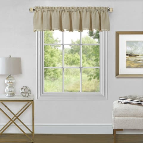 Wallace Sheer Rod Pocket Valance With Pom Poms, 52x14 Inches
