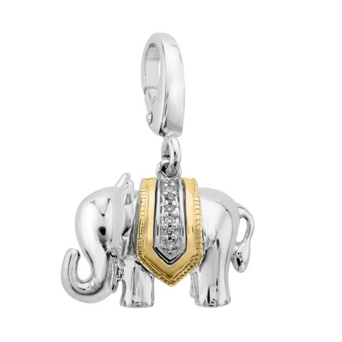 Elephant Charm with Diamonds in Sterling Silver & 14K Gold