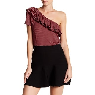 Romeo & Juliet Couture NEW Red Women Small S One-Shoulder Knit Top