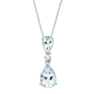 1 1/2 ct Natural Aquamarine Drop Pendant with Diamond in 14K White Gold - Blue