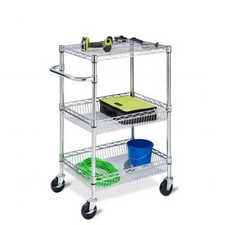 Honey Can Do 3-Tier Heavy Duty Rolling Utility Cart in Chrome