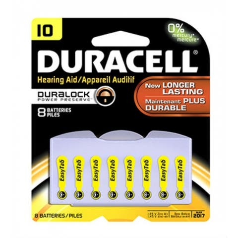 "Duracell 00275 Hearing Aid Battery with EasyTab, 10"", 8-Pack"