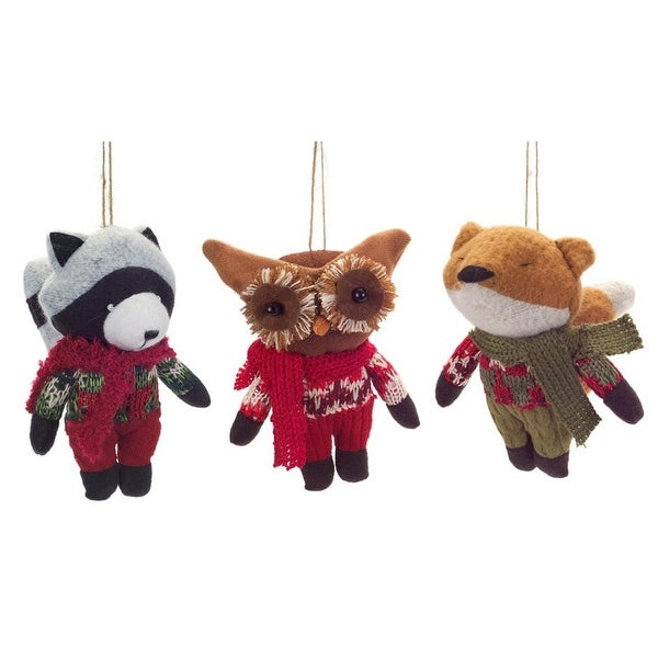Pack of 6 Stuffed Plush Woodland Raccoon, Owl and Fox Christmas Ornaments 9""