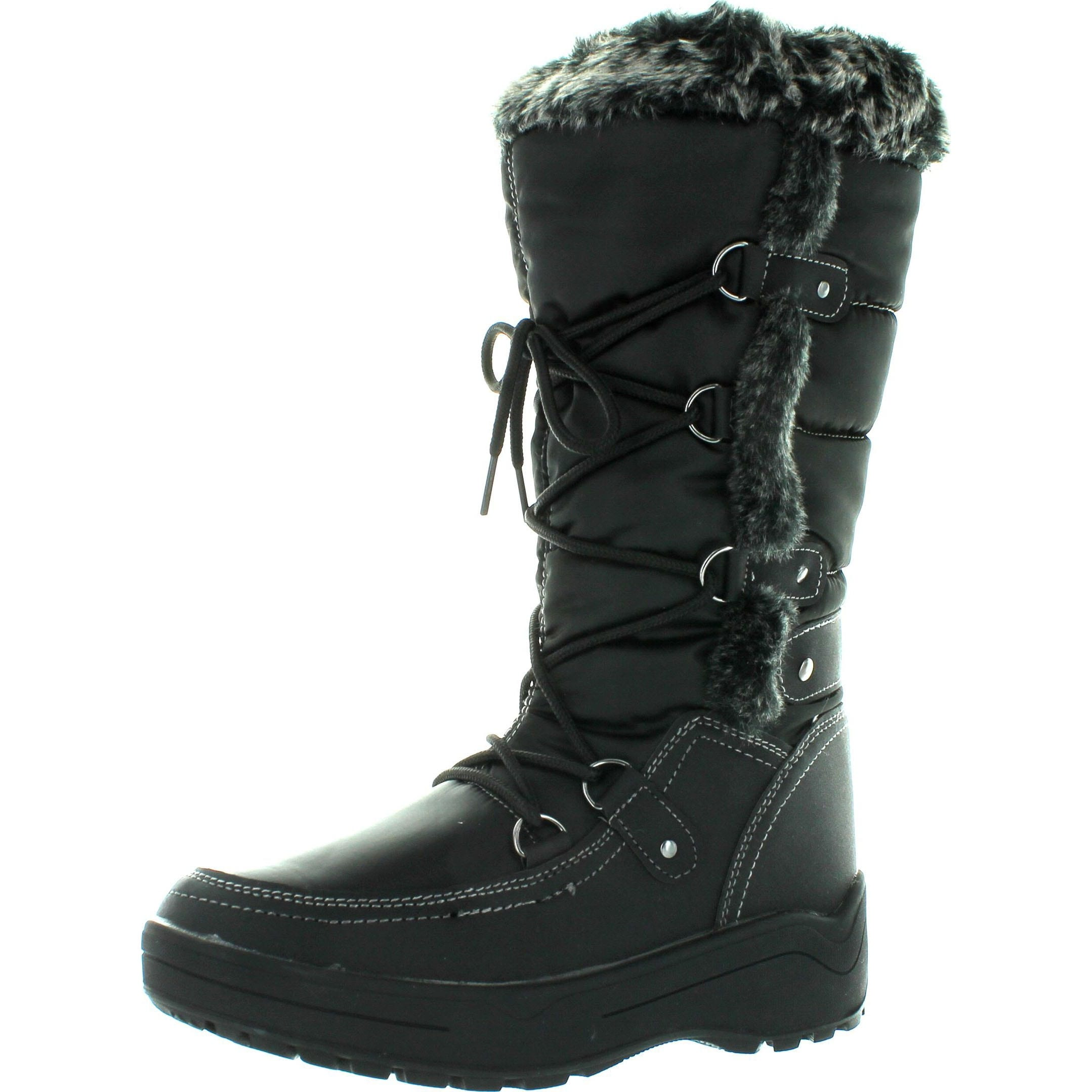 Men's Black Winter Snow Boots Shoes Faux Fur Lined Warm Wide CLF-05 Black-9