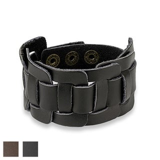Square Knotted Center Adjustable Leather Bracelet (Sold Ind.)